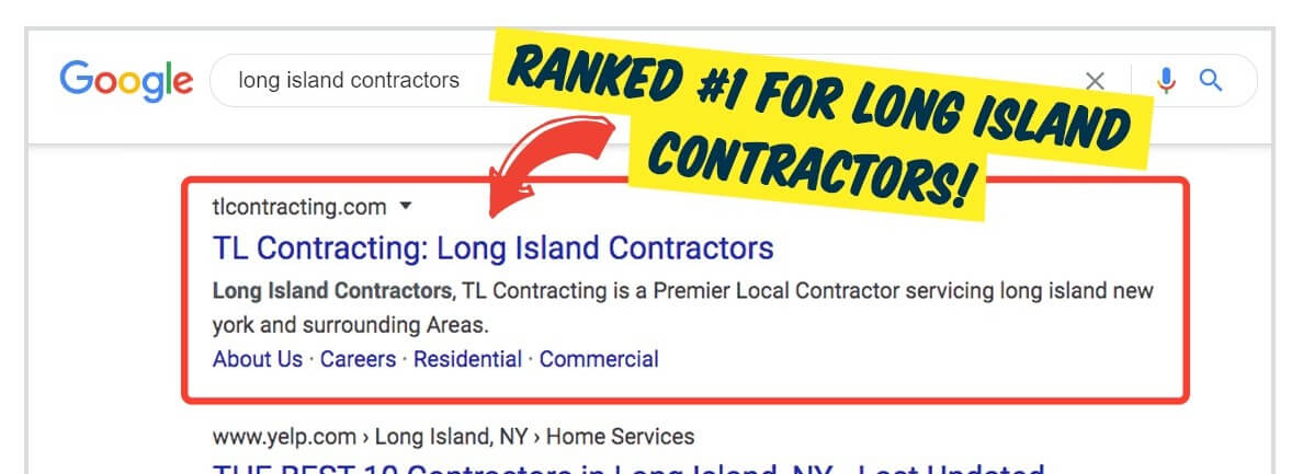 contractor ranking top of google seo